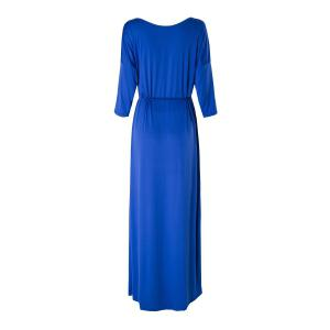 Casual solide Couleur Slash cou à manches 3/4 Plus Size Dress For Women - Bleu Violet 3XL