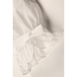 Embroidered White Sheer Organza Top -