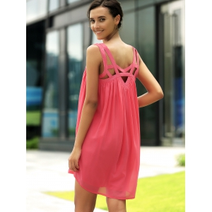 Stylish Round Neck Sleeveless Hollow Out Dress For Women -