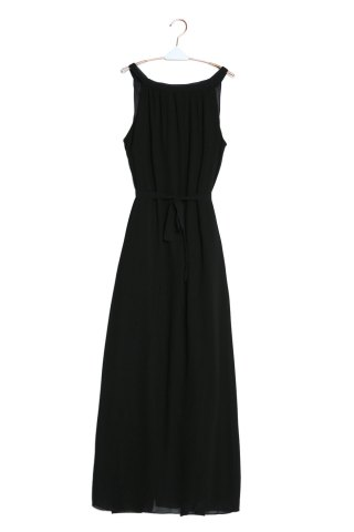 Buy Sleeveless Maxi Chiffon Beach Swing Dress BLACK M