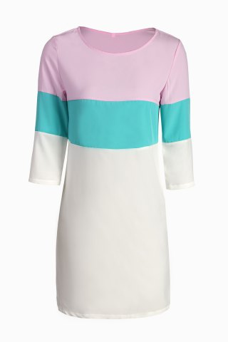 Shops Stylish Round Neck 3/4 Sleeve Color Block Loose Dress For Women COLORMIX S