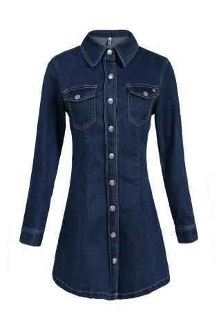 Shops Casual Polo Collar A-Line Long Sleeve Shirt Dress PURPLISH BLUE S