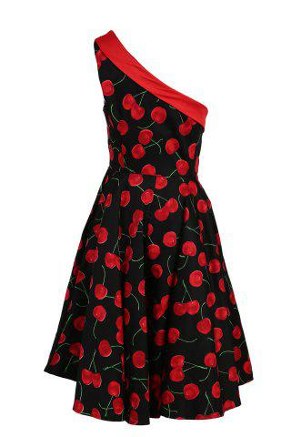 Vintage One-Shoulder Sleeveless Cherry Printed Flare Dress For Women - Cerise - Xl