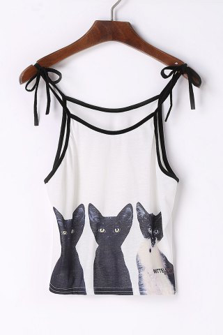 Cheap Cute Spaghetti Strap Cats Print Lace-Up Tank Top For Women