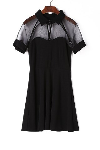 Best Stylish Black Flat Collar Short Sleeve See-Through Dress For Women BLACK ONE SIZE(FIT SIZE XS TO M)