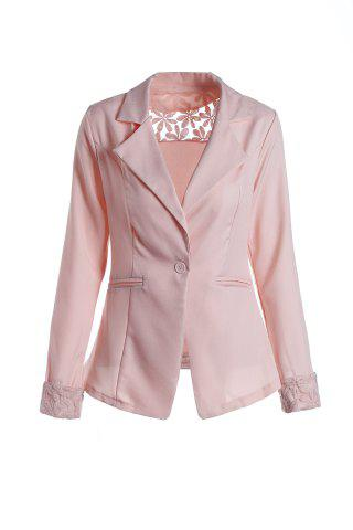 Store Stylish Lapel Long Sleeve Slimming Hollow Out Women's Blazer - PINK L Mobile