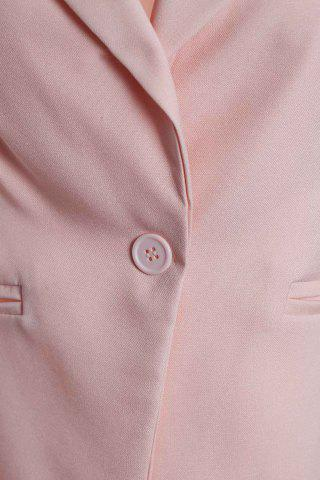 Hot Stylish Lapel Long Sleeve Slimming Hollow Out Women's Blazer - PINK L Mobile