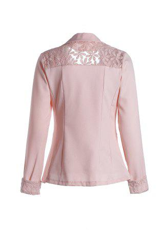 Shop Stylish Lapel Long Sleeve Slimming Hollow Out Women's Blazer - PINK L Mobile