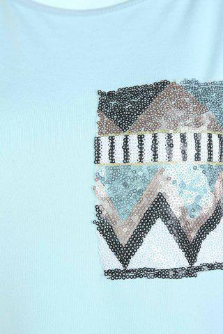 Cheap Stylish Round Collar Long Sleeve Sequined Pocket Design Women's T-Shirt - M BLUE Mobile