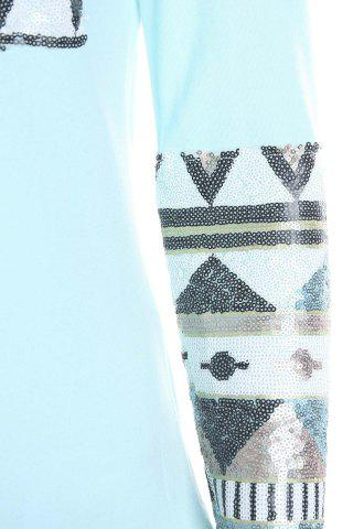 Outfit Stylish Round Collar Long Sleeve Sequined Pocket Design Women's T-Shirt - M BLUE Mobile