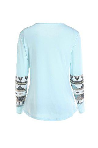 Fashion Stylish Round Collar Long Sleeve Sequined Pocket Design Women's T-Shirt - M BLUE Mobile