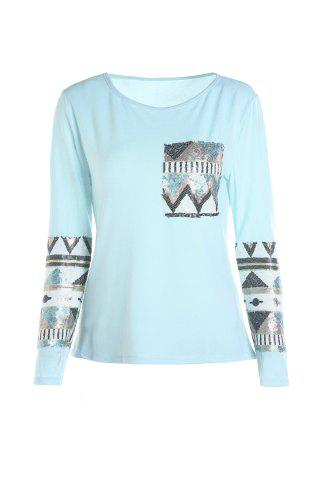 Unique Stylish Round Collar Long Sleeve Sequined Pocket Design Women's T-Shirt - M BLUE Mobile