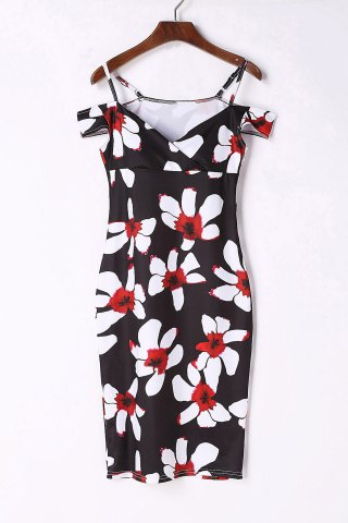 Hot Sexy Spaghetti Strap Short Sleeve Floral Print Women's Bodycon Dress BLACK S