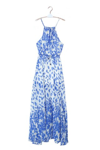 Chic Bohemian Halter Neck Sleeveless High Furcal Women's Chiffon Dress - XL BLUE AND WHITE Mobile