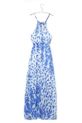 Latest Bohemian Halter Neck Sleeveless High Furcal Women's Chiffon Dress - XL BLUE AND WHITE Mobile