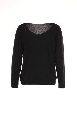 Outfit Stylish Skew Neck Letter Printed Long Sleeve T-Shirt For Women - M BLACK Mobile