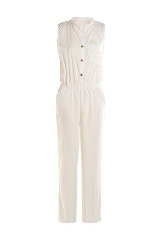 Fashion Stylish Stand-Up Collar Sleeveless Pure Color Women's Jumpsuit WHITE L