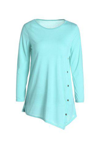Trendy Casual Scoop Neck Solid Color Nine-Minute Sleeves T-Shirt For Women - M GREEN Mobile
