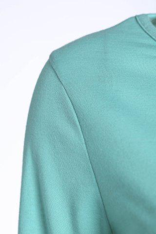 Best Casual Scoop Neck Solid Color Nine-Minute Sleeves T-Shirt For Women - L GREEN Mobile