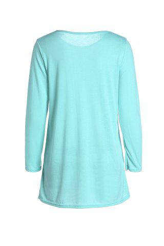 Unique Casual Scoop Neck Solid Color Nine-Minute Sleeves T-Shirt For Women - L GREEN Mobile