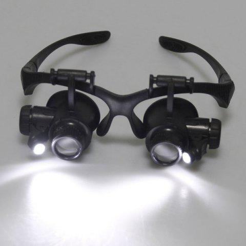 Chic 4 x Lens Adjustable Loupe Headband Magnifying Glass with LED Light For Jeweler Watch Repair