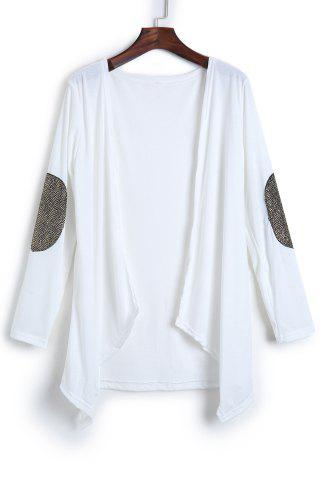 Cheap Long Sleeve Sequin Spliced Long Open Front Cardigan WHITE L