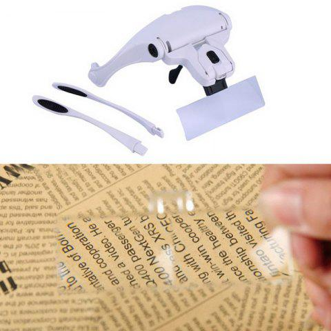 Outfit Eyeglasses Bracket Interchangeable Magnifier with 2 LED For Reading Jeweler Watch Repairing