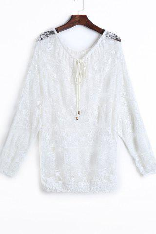 Hot Fashionable Lace Long Sleeve Off The Shoulder See-Through Blouse For Women WHITE ONE SIZE(FIT SIZE XS TO M)