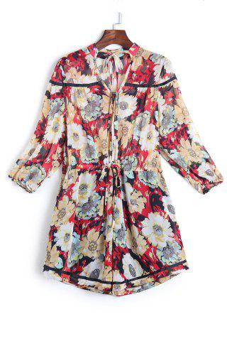 Chic V-Neck Floral Romper with Sleeves