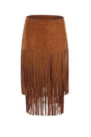 Store Stylish Multi-Layered Fringe Solid Color Suede Skirt For Women
