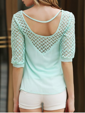 Stylish Scoop Neck Half Sleeve Hollow Out Chiffon Women's Blouse - Green - S