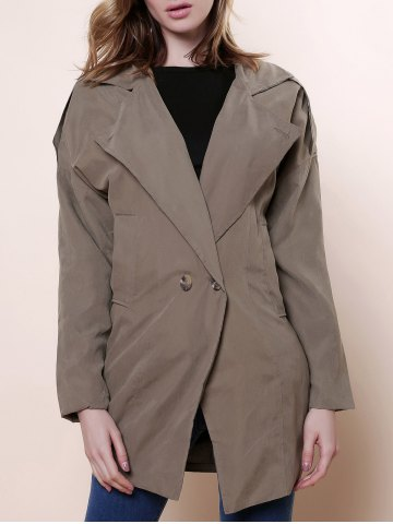 Buy Casual Lapel Neck Solid Color Loose-Fitting Long Sleeve Women's Trench Coat ARMY GREEN ONE SIZE(FIT SIZE XS TO M)