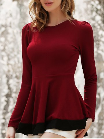 Unique Stylish Round Neck Long Sleeve Color Block Women's Knitwear WINE RED M