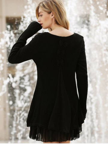 Outfit Simple Scoop Neck Long Sleeve Bowknot Embellished Women's Dress - 3XL BLACK Mobile