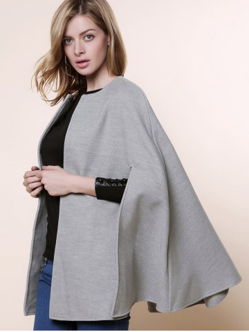 Shop Long Sleeve Solid Color Asymmetrical Wool Cape Coat - ONE SIZE(FIT SIZE XS TO M) GRAY Mobile