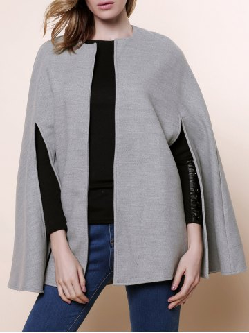 Sale Long Sleeve Solid Color Asymmetrical Wool Cape Coat - ONE SIZE(FIT SIZE XS TO M) GRAY Mobile