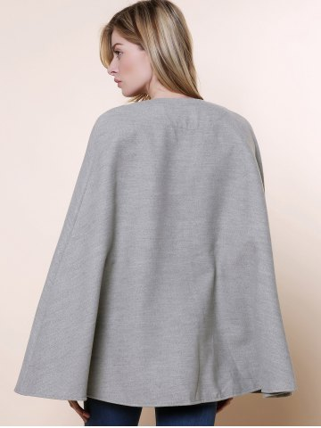 Trendy Long Sleeve Solid Color Asymmetrical Wool Cape Coat - ONE SIZE(FIT SIZE XS TO M) GRAY Mobile