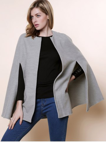 Online Long Sleeve Solid Color Asymmetrical Wool Cape Coat - ONE SIZE(FIT SIZE XS TO M) GRAY Mobile