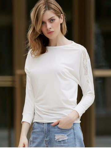 New Dolman Long Sleeve Lace Loose Cotton Blouse - ONE SIZE WHITE Mobile