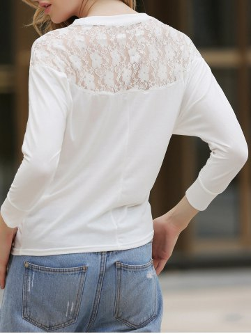 Latest Dolman Long Sleeve Lace Loose Cotton Blouse - ONE SIZE WHITE Mobile
