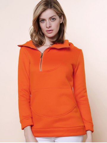 Hot Stylish Hooded Long Sleeve Zippered Solid Color Women's Hoodie - L ORANGE Mobile