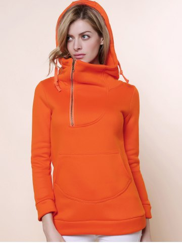 Shop Stylish Hooded Long Sleeve Zippered Solid Color Women's Hoodie - L ORANGE Mobile