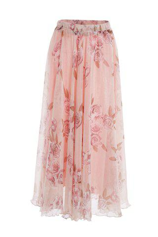 Sale Trendy Elastic Waist Floral Print Chiffon Skirt For Women