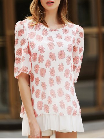 Sweet Scoop Neck Flower Pattern 3 4 Sleeve Women s Blouse