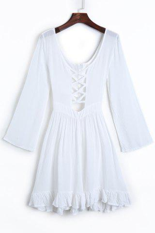 Cheap Plunge Long Sleeve Criss Cross Ruffle Dress WHITE L