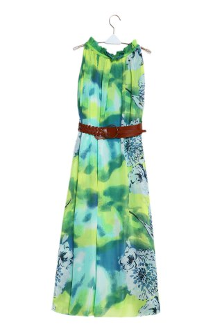 Charming Ruffled Collar Sleeveless Floral Print Beach Maxi Dress For Women - Green - M