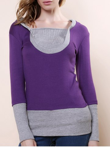Trendy Fashionable Color Block Long Sleeve Hoodie For Women - XL PURPLE Mobile