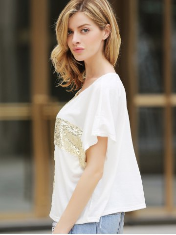Affordable Leisure Cross Sequins Decor Low Round Neck Loose Women's T-shirt Cotton - M WHITE Mobile