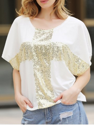 Loisirs Cross Paillettes Decor Low Round Neck Loose Women  's T-shirt en coton Blanc M