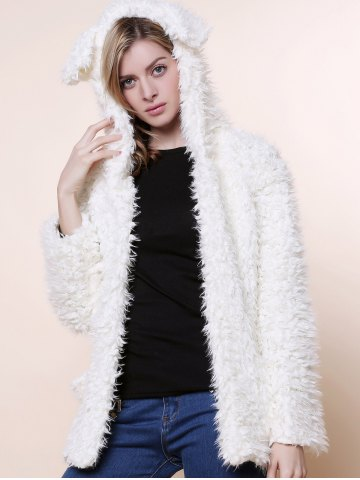 Buy Cute Bear Ear Design Hooded Long Sleeves Women's White Faux Fleece Coat WHITE L